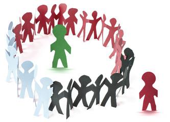 ronde de ribambelles, concept intégration et exclusion d'un groupe