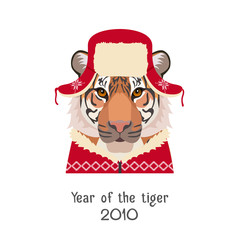 Vector Tiger head in new year, christmas red hat, pullover