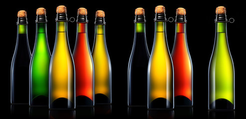 Bottle of beer, cider or champagne isolated on black background