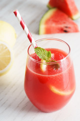 Watermelon juice with lemon and mint