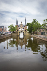 Foto op Canvas Kanaal Waterpoort (Watergate) the symbol of the city of Sneek, The Netherlands