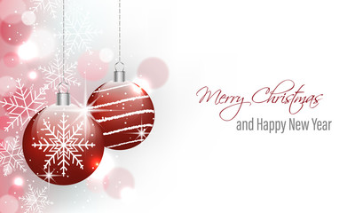 Merry Christmas and Happy New Year greeting card with hanging baubles.