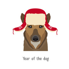 Vector dog head in winter new year christmas flapped hat