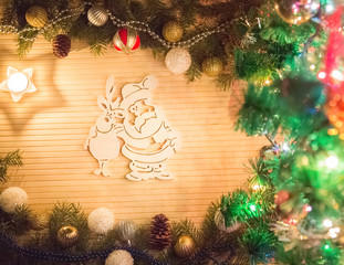 Santa Claus and reindeer, Christmas decoration