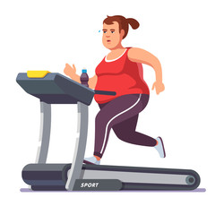 Obese young woman running on treadmill