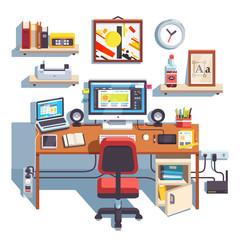 Professional designer working desk
