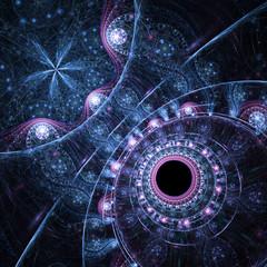 Abstraction of clockwork fractal water, digital artwork for creative graphic design