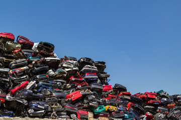 Stacked cars at a junkyard in Amsterdam