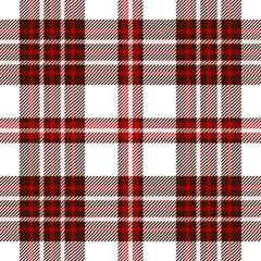 Seamless tartan plaid pattern. Checkered fabric texture print in dark brown, dark red & pale pink stripes on white background.