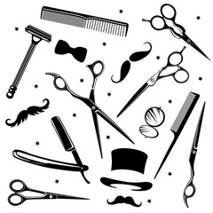 Set of men's fashion icons including barber tools and gentlemen's accessories. Vector Illustration