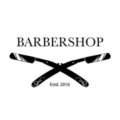 Logo for barbershop, hair salon with barber razor blades. Vector Illustration