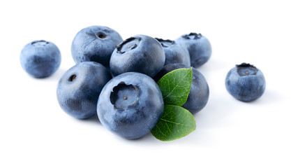 Blueberry. Fresh berries with leaves isolated on white backgroun Fototapete
