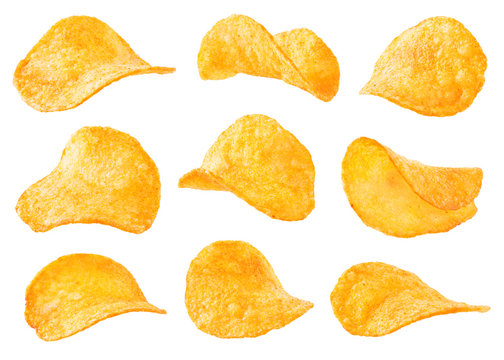 Potato chips isolated on white background. Collection.