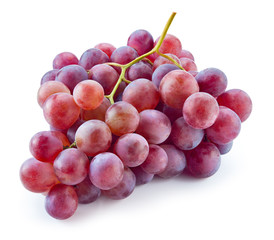 Fototapete - Ripe red grape. Pink bunch isolated on white. With clipping path
