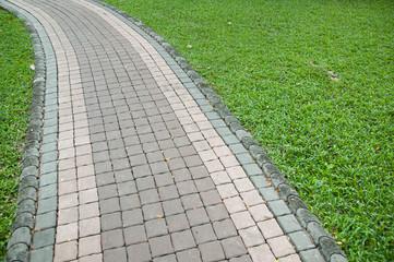 Concrete paving blocks, walkway in the garden