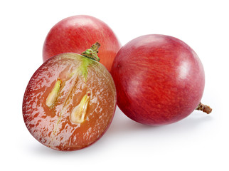 Ripe red grape with cut isolated on white. With clipping path. F