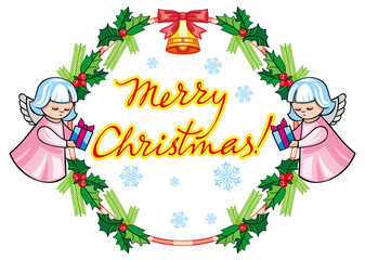 """Christmas label with angels and artistic written text: """"Merry Christmas!""""."""
