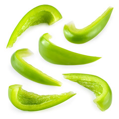 Pepper. Slice of green paprika isolated. With clipping path. Col