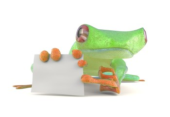 Green frog with a blank sign thumbs up 3d illustration