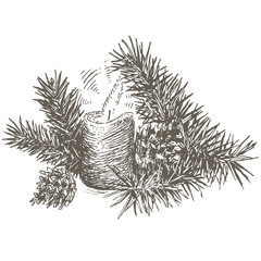 Set of Christmas decoration with pinecone, pine branch and candle.