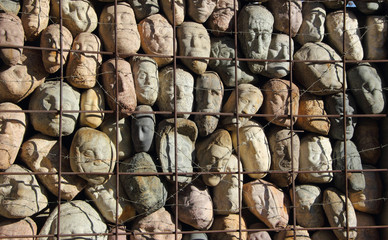 lots of stones in a cage