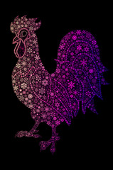 Colorful rooster painted snowflakes