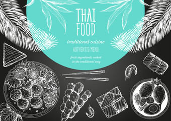 Asian food background. Asian food poster. Thai food menu restaurant. Thai food sketch menu. Vector illustration