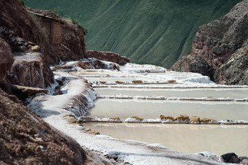 The Maras salt ponds located at the Peru's Sacred Valley, Urubamba, Peru