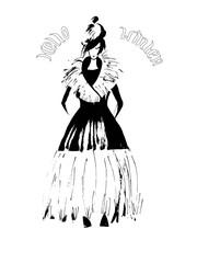 Fashion woman in winter coat . Fashion sketch hand drawn . Vector illustration . Hello winter card , postcard.