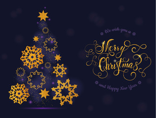 Christmas card tree and balls with lettering. Vector illustration EPS 10.
