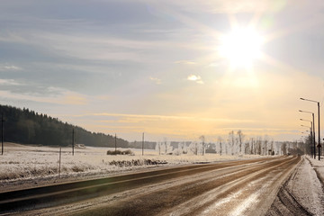 Golden Winter Sun over Highway