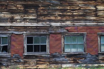 old windows on an old barn