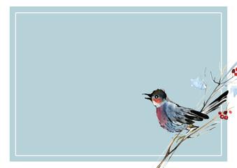 Holly branch, birds, watercolor