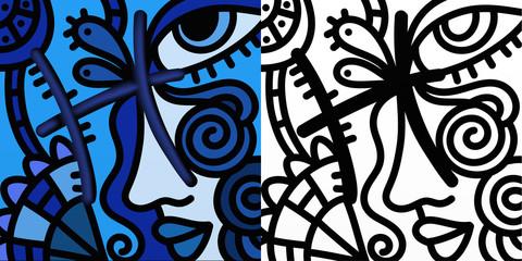 Spoed Foto op Canvas Klassieke abstractie Abstract zodiac sign - Pisces