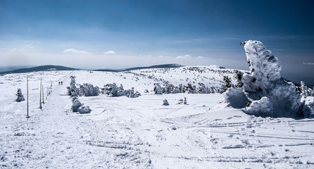 winter in Jeseniky mountains near Vysoka hole hill with hiking trail, snows, hills, small trees and clear sky