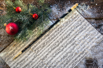 Musical notes and baton in winter decor