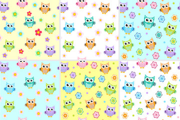 Kids seamless pattern with owls. Owl endless background, texture. Children s backdrop. Vector illustration