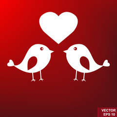 Lovers of birds isolated on a red background. Lovely.