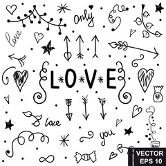 Set of love. Hand drawing. Doodle style. for your design.