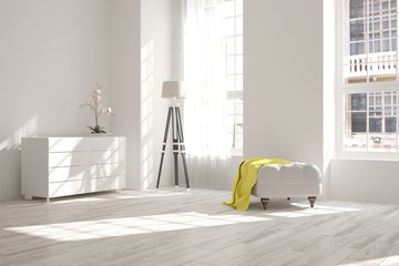 White room with chair. Scandinavian interior design