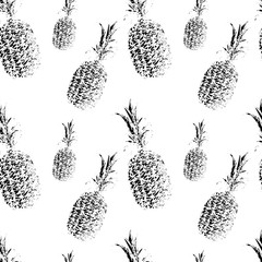 Seamless pattern with white pineapples on black background. Vector illustration