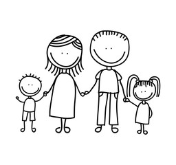 cute little family character icon vector illustration design