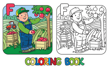 Farmer coloring book. Alphabet F. Profession ABC