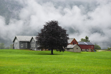 Traditional farm house and barn in Norway.
