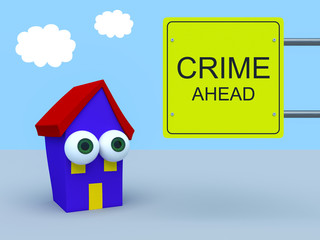Cartoon House With Warning Sign Crime Ahead, 3d illustration