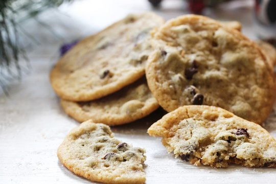 Homemade giant Chocolate chip cookies on holiday background, selective focus