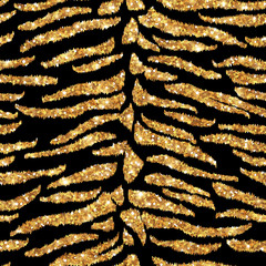 Seamless tiger gold pattern