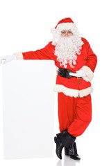 Santa Claus standing isolated on white background. Full length portrait