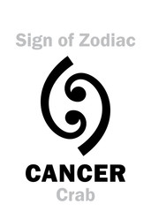 Astrology Alphabet: Sign of Zodiac CANCER (The Crab). Hieroglyphics character sign (single symbol).