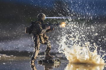 Soldier shooting in the water. It´s a toy, not a real person.